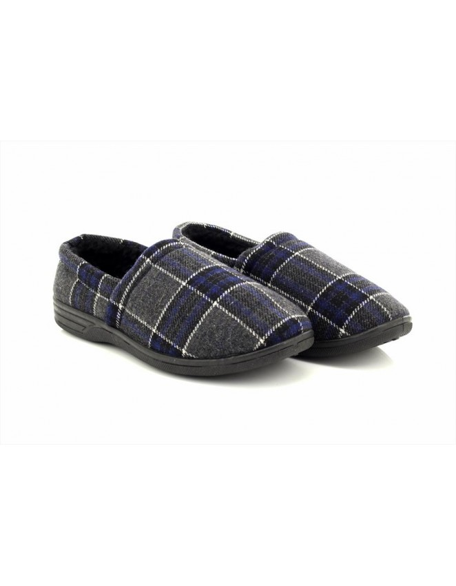 Mens Sean Warm Fur lined Tartan Effect Luxury Full Indoor Slippers