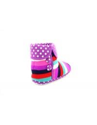 Ladies Girls Stripe Purple Indoor Bootee Slippers