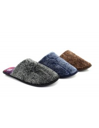 Mens Checked Velour Slipper Classic Novelty Mule Mules Slippers