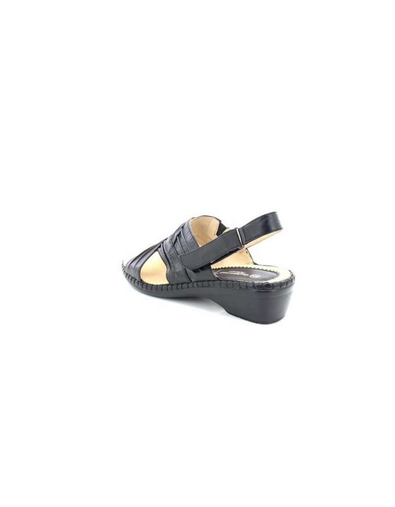 LADIES CUSHION WALK SUMMER SANDAL WITH TOUCH CLOSE STRAP LEATHER LINED