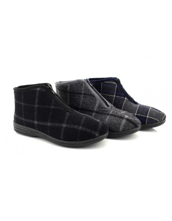 Mens Justin II Front Zip Classic checked Thermal Bootee Indoor Boots