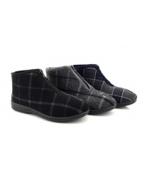 Mens Jedd II Front Zipper Classic Checked Ankle Bootee Indoor Slippers