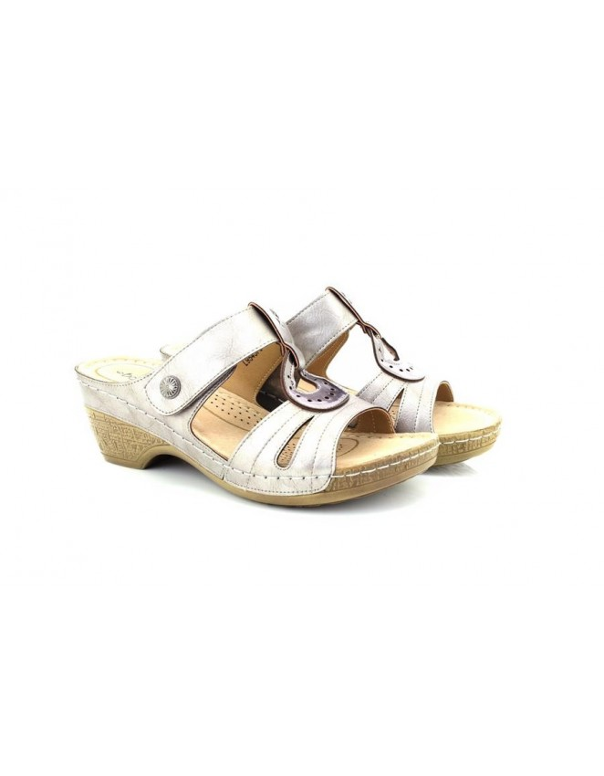 4f919546745803 Boulevard Louise Mid Heel Touch Fastening Wedge Mule Sandals