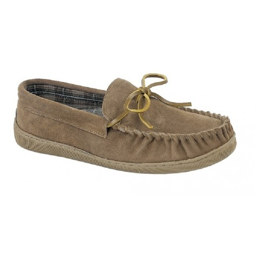 Sleepers ADIE MS461 Leather Full Indoor Quality Moccasin Slippers Sand Real Sued