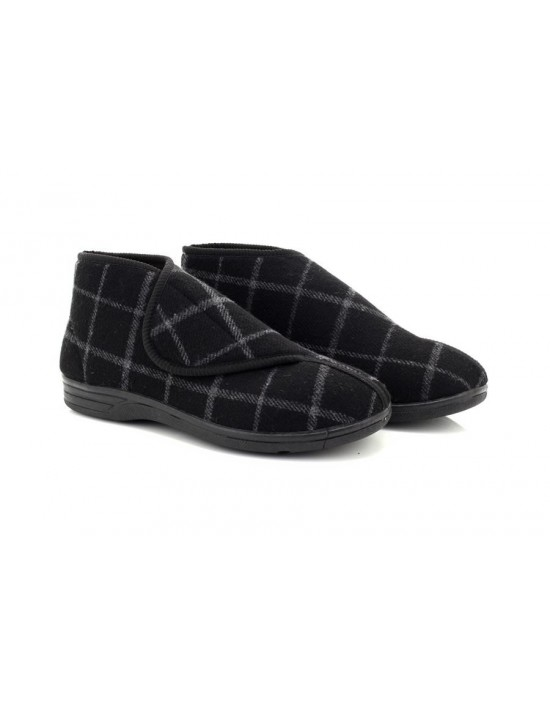 Mens Peter Touch Fastening Bootee Washable Wide Fit Textile Slipper Boots