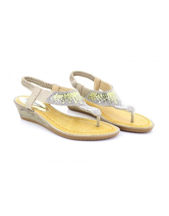 Boulevard Lisa L9526 Elasticated Jewelled Halter Back Summer Sandals Pewter PU