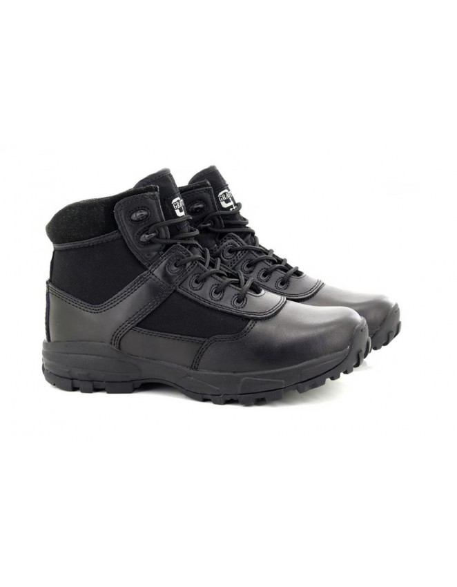 Grafters M391A Unisex Black Grain Leather 6 Eye Cadet Military Army Boots