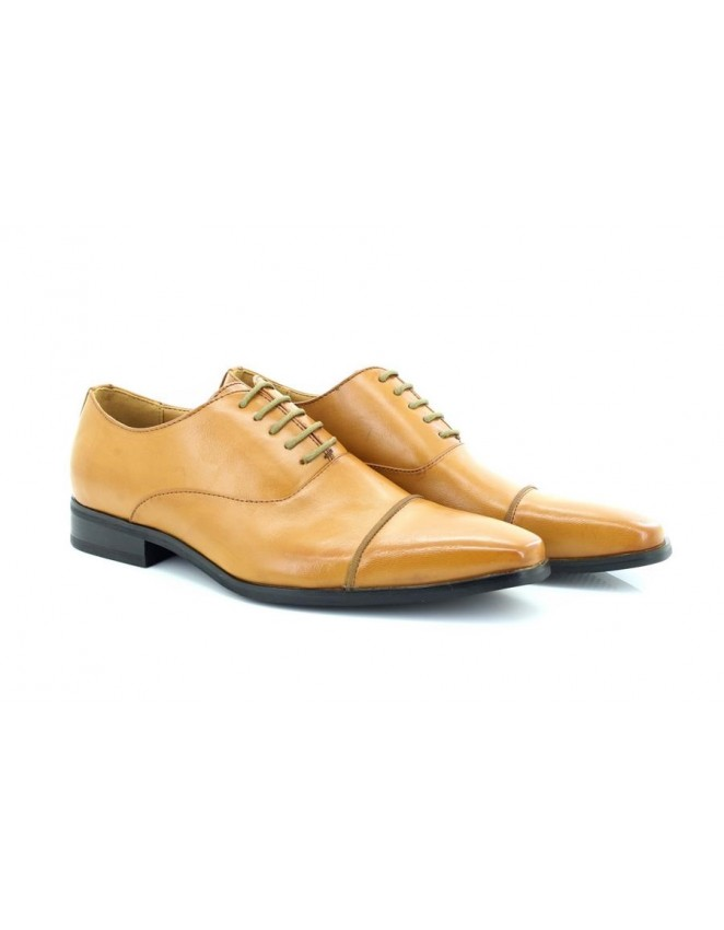 Mens Tan Classic Capped Toe Formal Lace Up Shoes