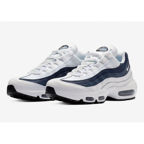 detailed look 08214 0c660 Details about Nike Air Max 95 Essential Trainers White Midnight Navy  Platinum