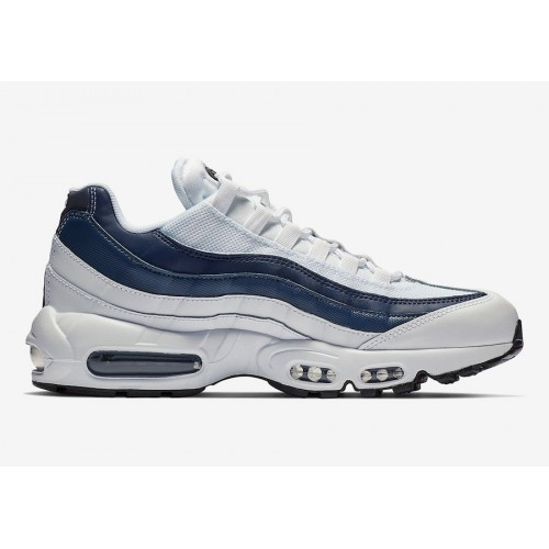 Details about Nike Air Max 95 Essential Trainers White Midnight Navy Platinum