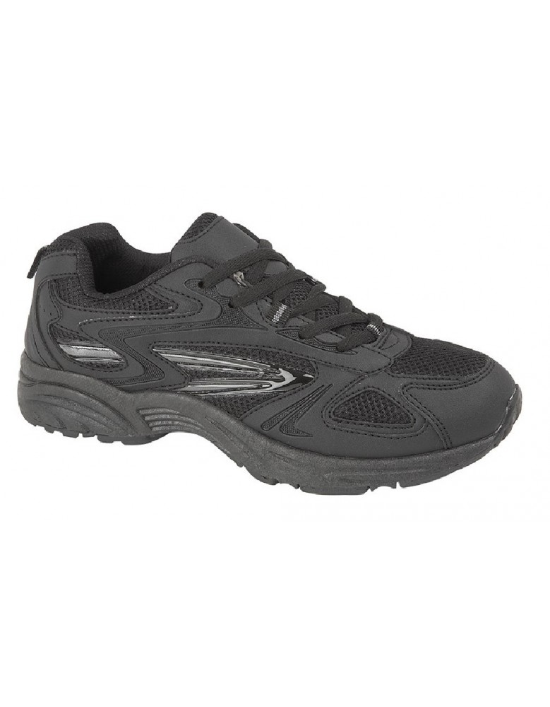 Dek VENUS III T483 Unisex Budget Lace Up Trainers Black//Charcoal Grey Textile//PU