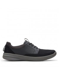 Clarks Stepstrolllace Mens Black Suede Lifestyle Lace-Up Sneakers Shoes