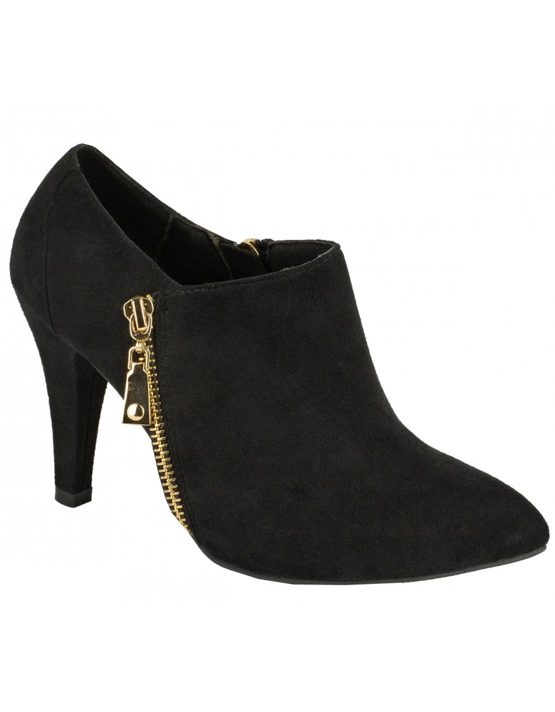 ShuCentre Elina Twin Zip Black Suede Mid Heel Ankle Shoe Boots ...