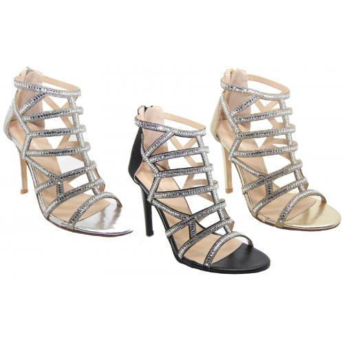 fb0ff2ae6c4 Details about Ladies Diamante High Heel Party Prom Bridal Designer Sandals  Shoes