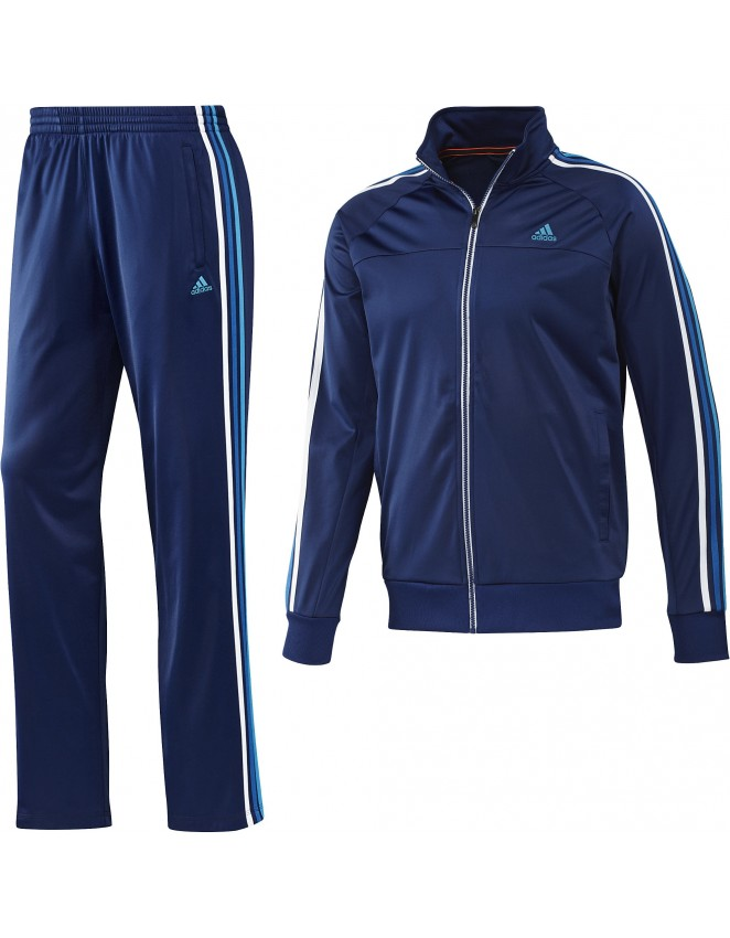 d3b6afc7b612 Adidas Mens ESS Retro Night Blue Full Suit Tracksuit Jacket   Bottoms F48329