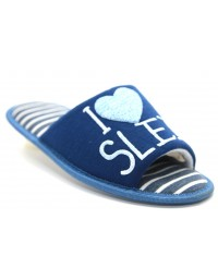 Ladies Luxury Stripe Open Toe I Love Sleep Heart Indoor Slippers