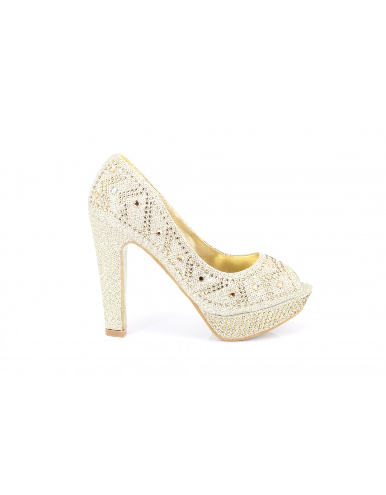 00a718fd3f32 Gorgeous Gold Diamant Platform Wedding Evening Prom Shoes High Heel 13cm  Open Toe