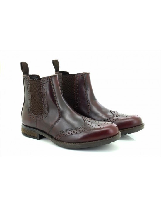 Mens Woodland M858 Leather Chelsea Ankle Boots Dk.Brown Tumbled Leather