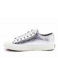 0e8b0f462a8852 Womens Silver Jasmine Low Top All Star Metallic Glitter Lace Up Canvas Shoes